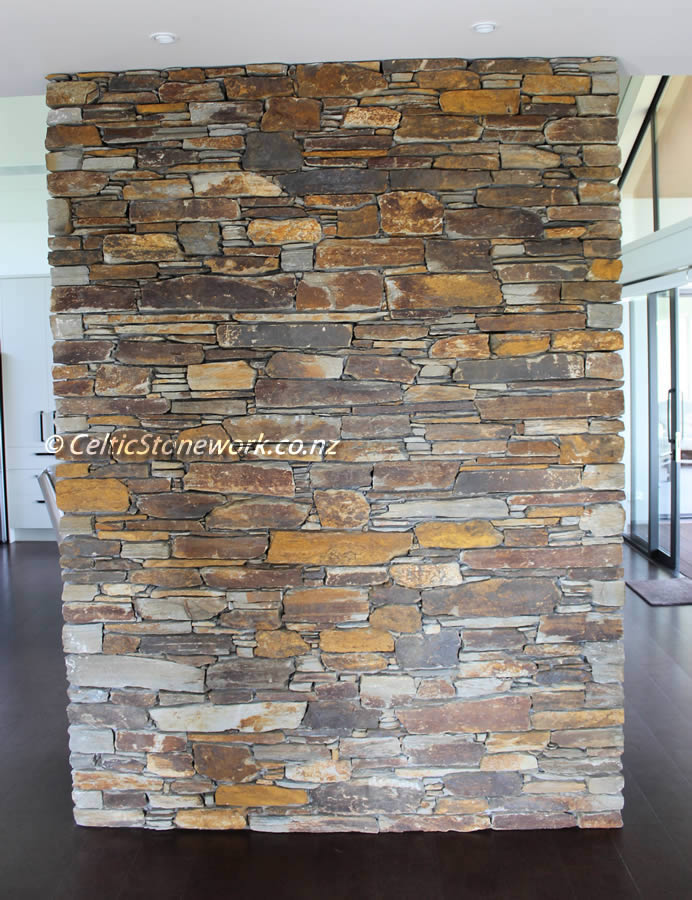 Ngahinapouri stone work job - Stone Entrance Panel using Hyde Brown Schist