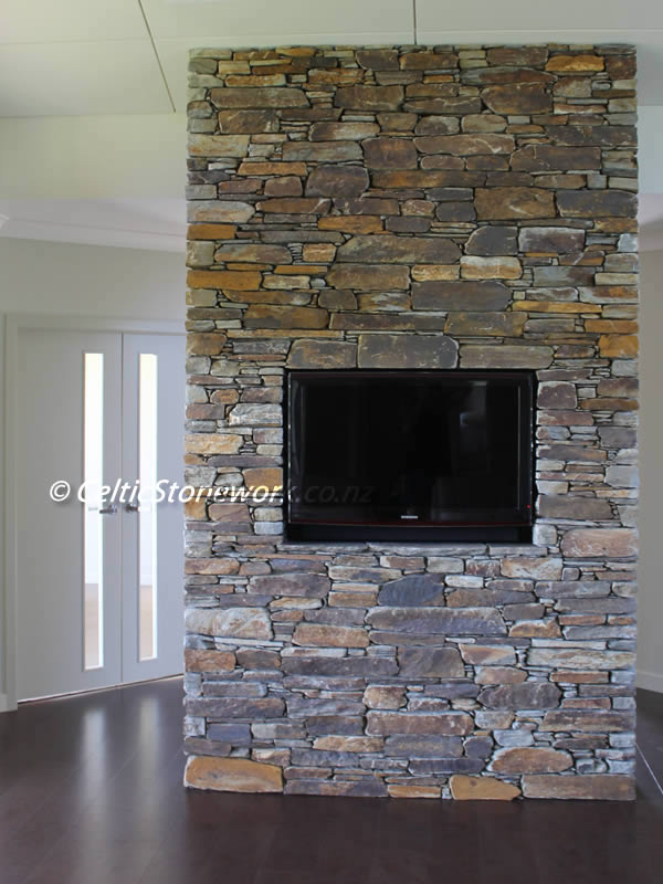 Ngahinapouri stone work job - Stone TV Panel using Hyde Brown Schist