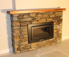 Schist : Alexandra Brown with Poolburn - Wood mantel Australian Black wood  Location Rotorua