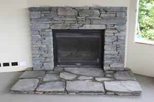 New Plymouth stone work job - Stone Fireplace using Gibston Grey Schist