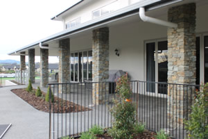 Schist columns at Highfield retirement village community center Te Awamutu