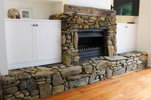 Scotsman Valley stone work job - using stones picked from the paddock which gives an aged natural look
